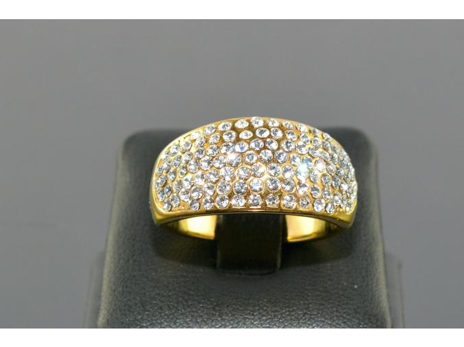 S1047 Prsten z chirurgické oceli GOLD s krystalky