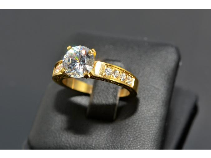 S0472 Prstýnek z chirurgické oceli GOLD s krystalkem