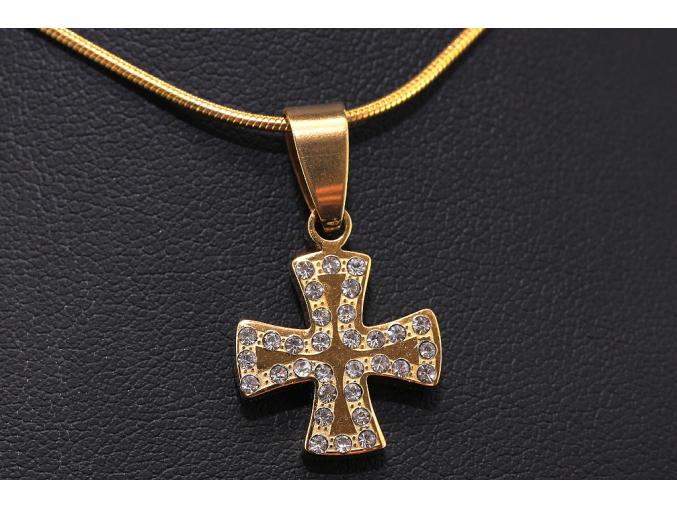 S0599 Ocelový KELTSKÝ KŘÍŽ GOLD s krystalky