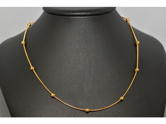 S0648 Řetízek s kuličkami GOLD z chirurgické oceli
