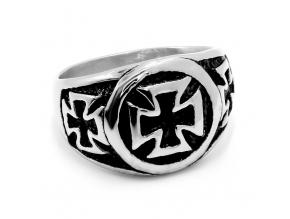 S2765 Kulatý pánský prsten KŘÍŽ