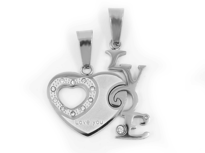 S2182 Přívěsek pro dva LOVE - chirurgická ocel